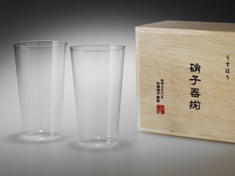 松徳硝子 うすはりタンブラー木箱M/2P SHOTOKU GLASS usuhari tumbler M/2P wooden box 沖縄